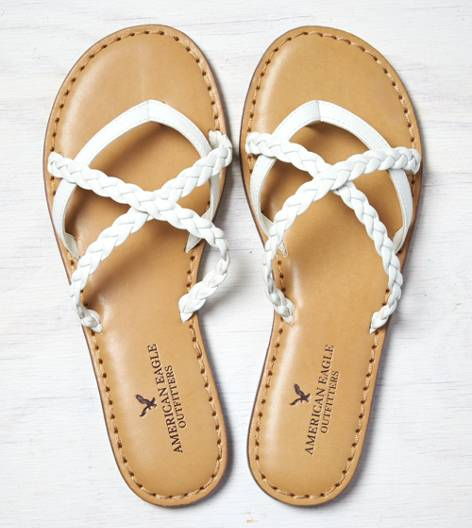 White  AEO Strappy Braided Sandal