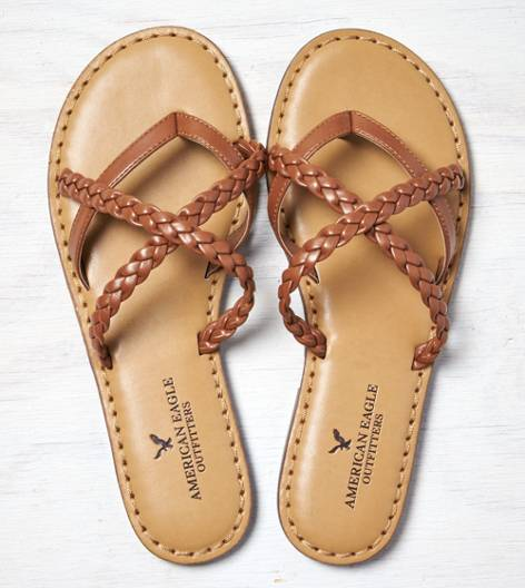Tan AEO Strappy Braided Sandal