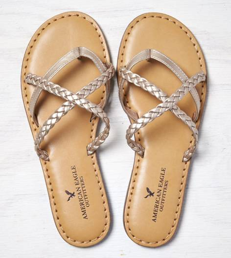 Rose Gold AEO Strappy Braided Sandal