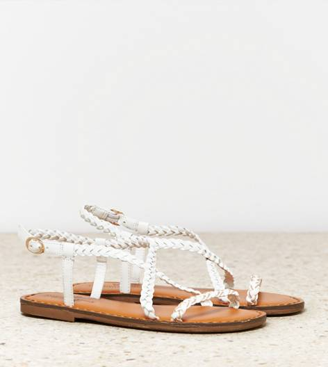 White  AEO Chain Braided Sandal