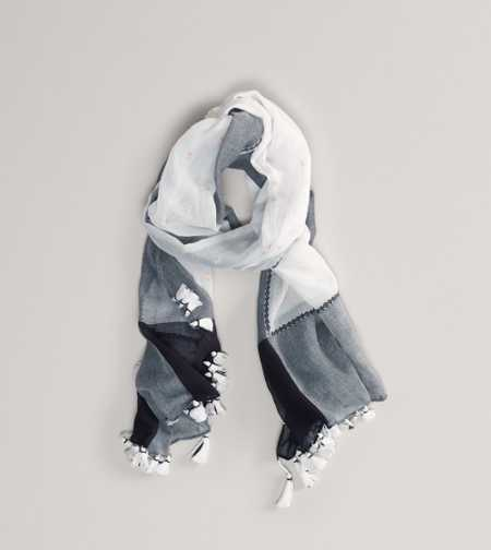 AEO Embroidered Fringe Scarf - Take 40% Off