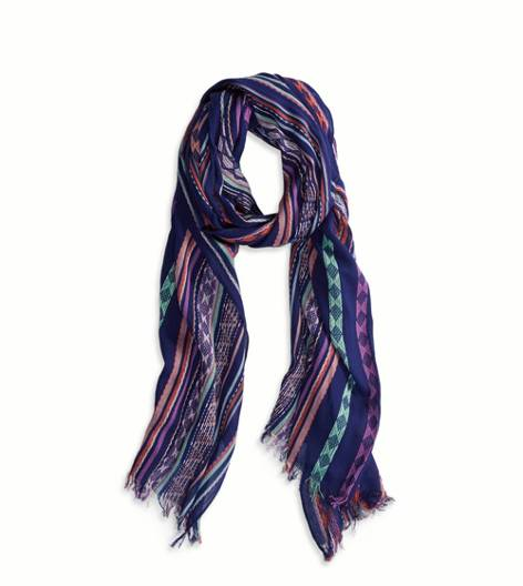 Navy AEO Jacquard Striped Scarf