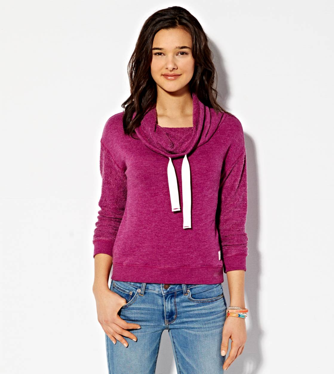 Purple AE Funnel Neck Sweatshirt