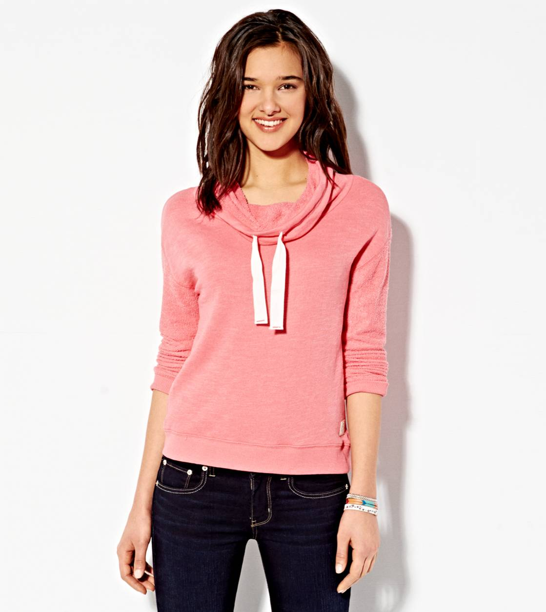 Coral Burst AE Funnel Neck Sweatshirt