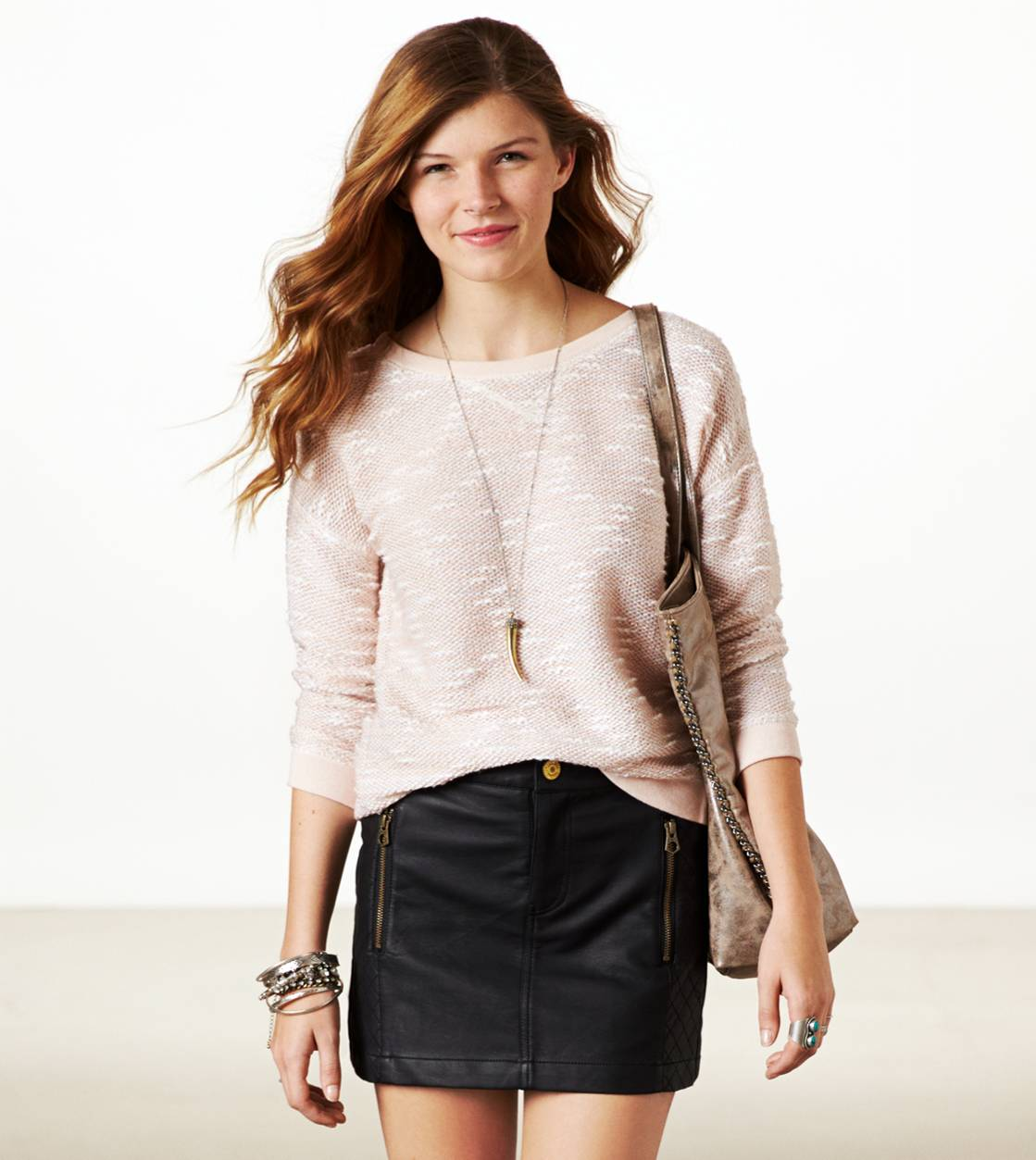 AE Marled Sparkle Popover | American Eagle Outfitters