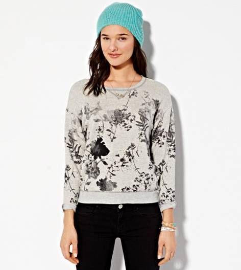 Heather Grey AE Printed Sweatshirt
