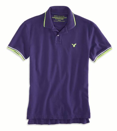 Sunset Purple AEO Factory Tipped Polo