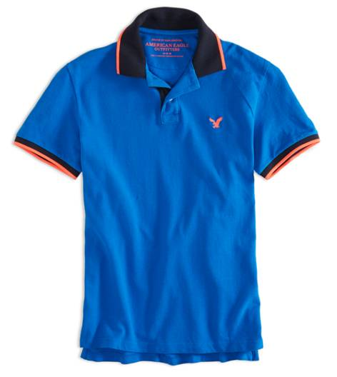 Deep Water Blue AEO Factory Tipped Polo