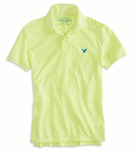 Deep Neon Yellow AEO Factory Solid Polo