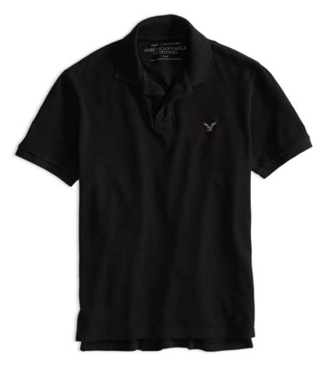 True Black AEO Factory Solid Polo