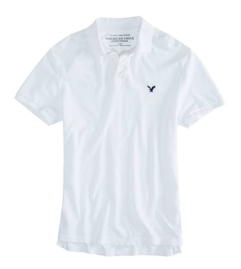 White  AEO Factory Solid Polo