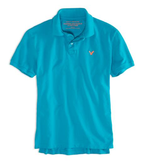 Fresh Teal AEO Factory Solid Polo