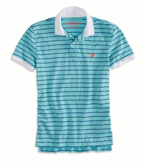 Ocean Aqua AEO Factory Striped Polo