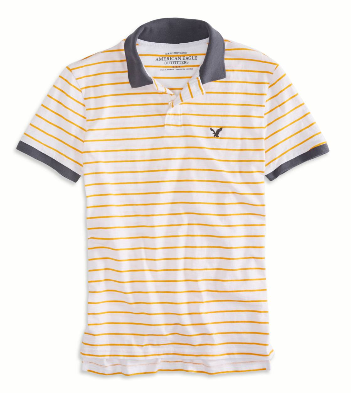 Crisp Tangerine AEO Factory Striped Polo