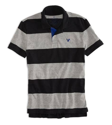 Black AEO Factory Striped Jersey Polo