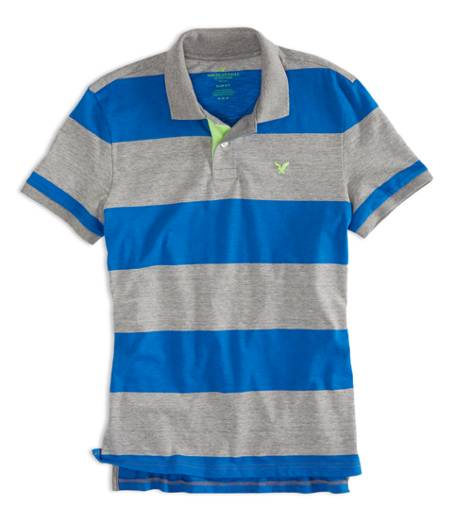 Derby Grey Marl AEO Factory Striped Jersey Polo