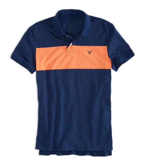 Petal Blue AEO Factory Chest Stripe Polo