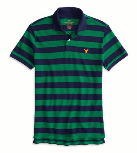 Team Green AEO Factory Striped Polo