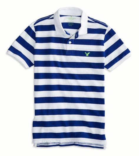 Dream Blue AEO Factory Striped Polo