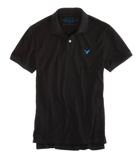 True Black AEO Factory Jersey Solid Polo