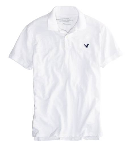 White  AEO Factory Jersey Solid Polo