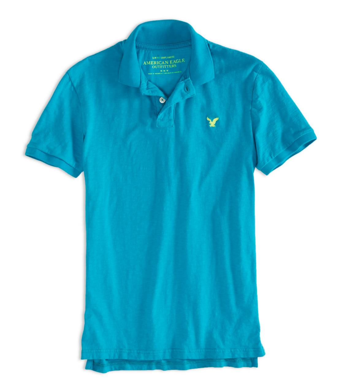 Fresh Teal AEO Factory Jersey Polo