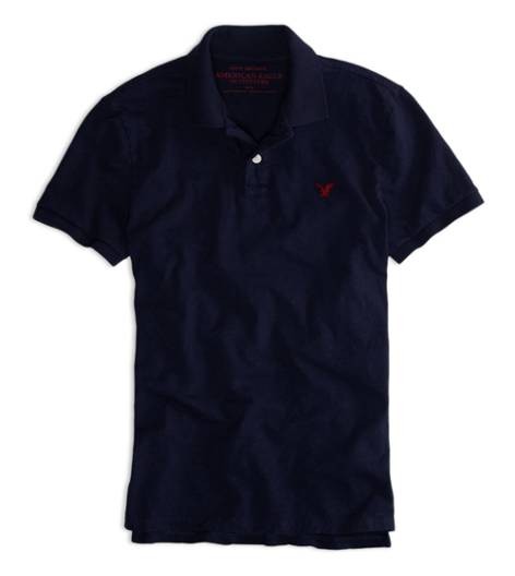 Deep Navy AEO Factory Jersey Solid Polo