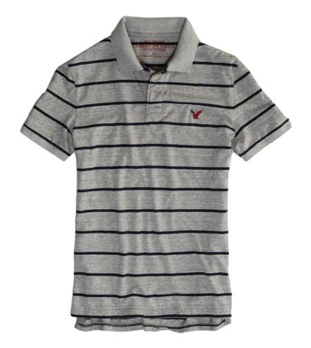 AEO Factory Striped Jersey Polo