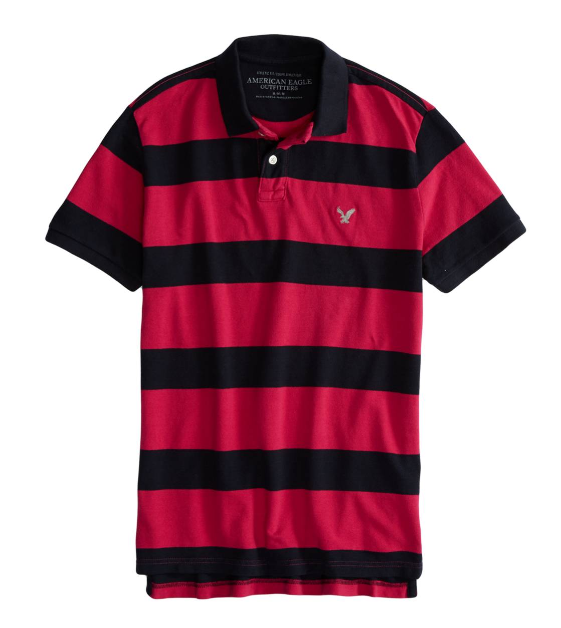Magenta Stone AEO Factory Bold Striped Polo