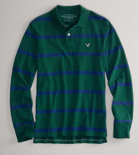 AEO Factory Striped Long Sleeve Polo