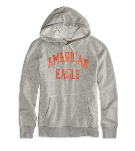 Heather Grey AEO Factory Signature Hooded Pop Over