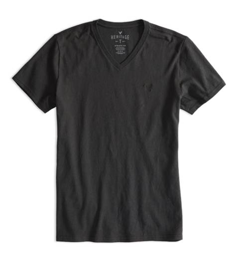 Coal Grey AEO Factory Heritage V-Neck T-Shirt