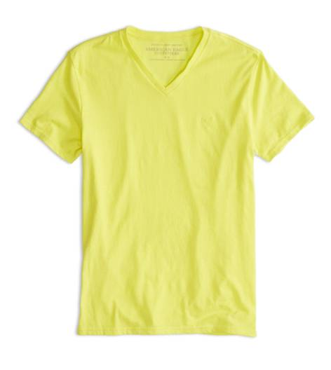 Deep Neon Yellow AEO Factory Heritage V-Neck T-Shirt