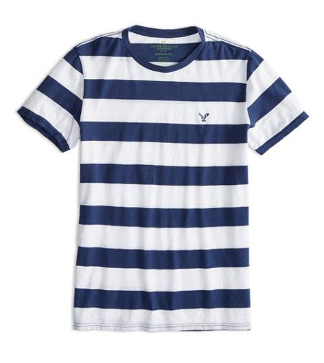 Petal Blue AEO Factory Striped T-Shirt