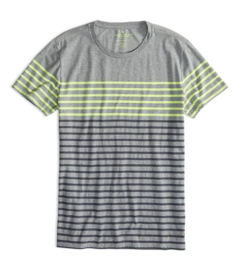 Derby Grey Marl AEO Factory Colorblock Stripe T-Shirt