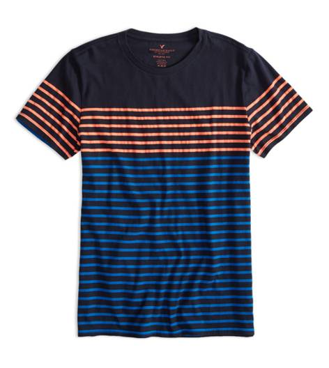 Fleet Navy AEO Factory Colorblock Stripe T-Shirt