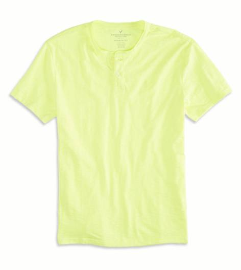 Deep Neon Yellow AEO Factory Henley T-Shirt