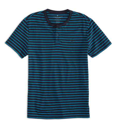 AEO Factory Striped Henley T-Shirt