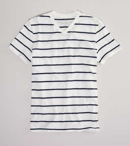AEO Factory Striped V-Neck Tee