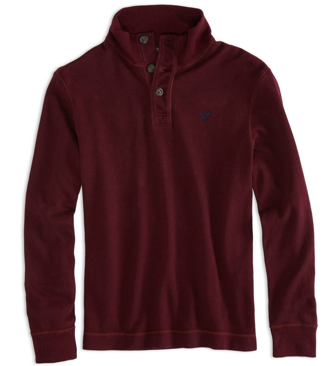 Claret AEO Factory Buttoned Mock Neck T-Shirt