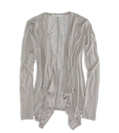 Stone Grey AEO Factory Open Waterfall Cardigan