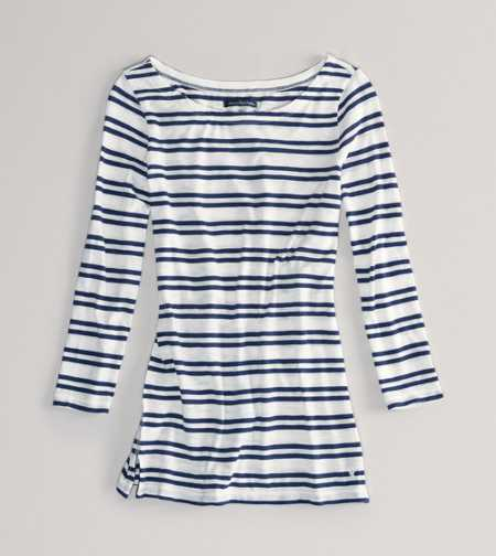 AEO Factory Striped Boatneck Tee