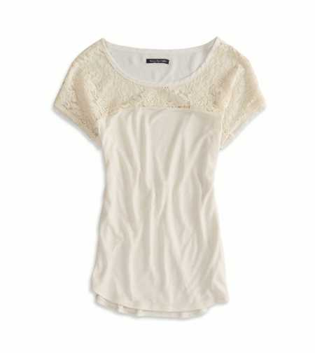 AEO Factory Chiffon Paneled T-Shirt