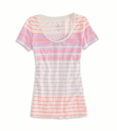 Orchid Bouquet AEO Factory Striped Favorite T-Shirt