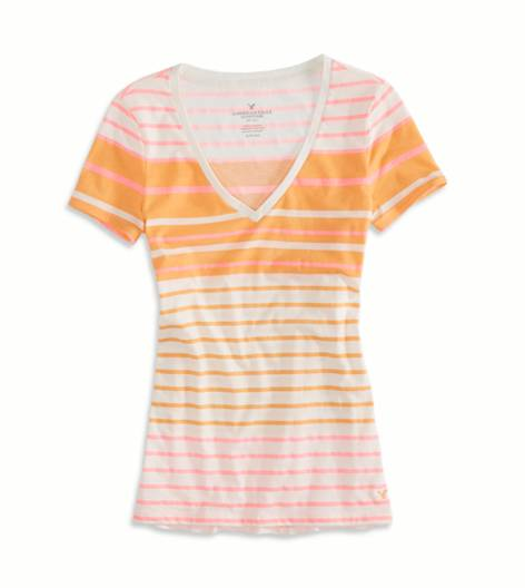 Peachy Keen AEO Factory Striped Favorite T-Shirt