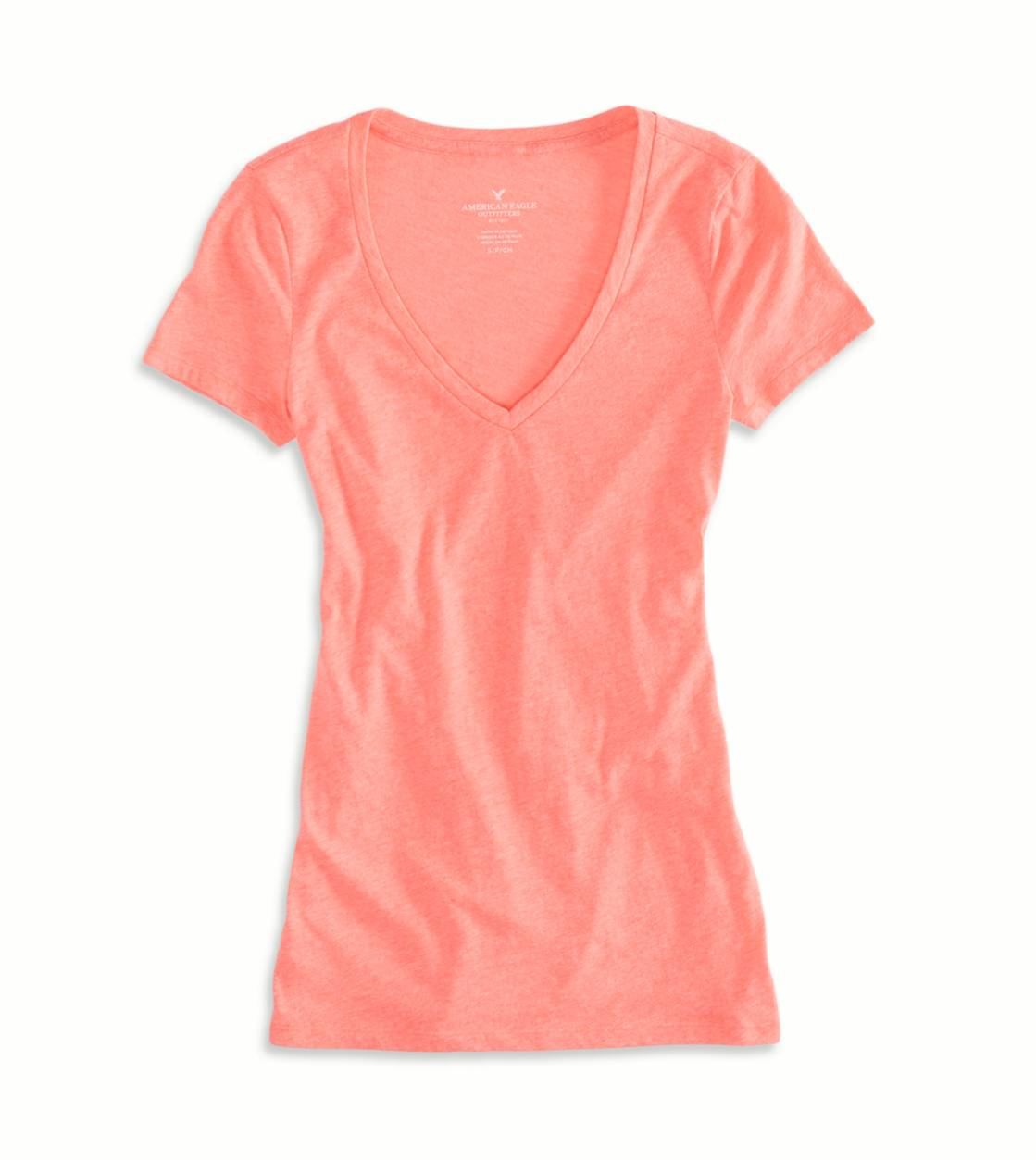 Coral Burst AEO Factory V-Neck Favorite T-Shirt