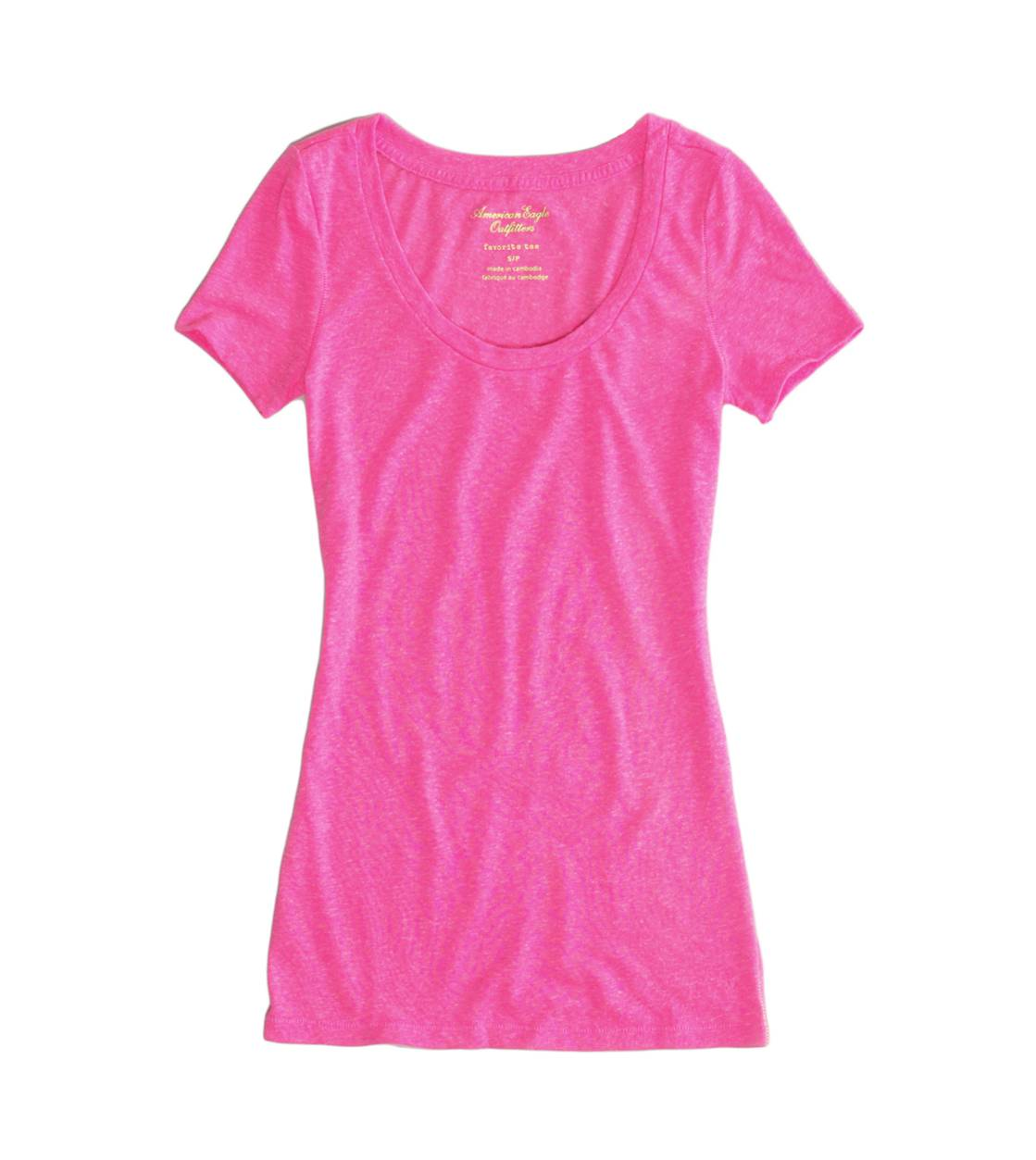Neon Pink AEO Factory Scoop Favorite T-Shirt