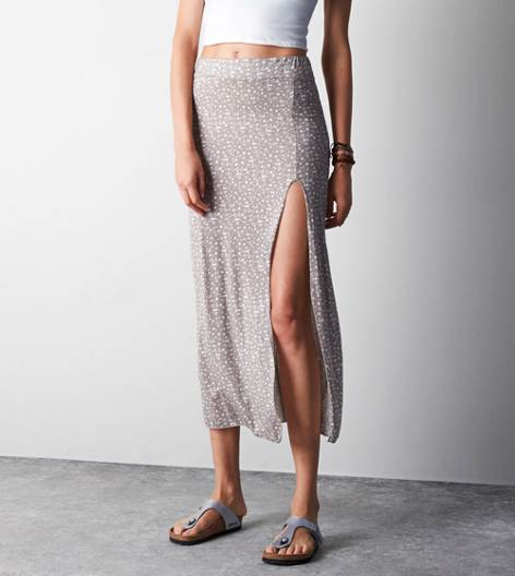 Ditsy Don't Ask Why Side Slit Maxi Skirt