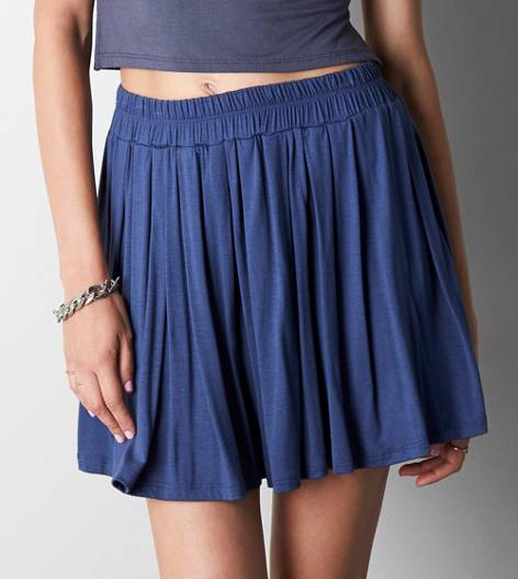 Blue Don't Ask Why Pleated Skirt