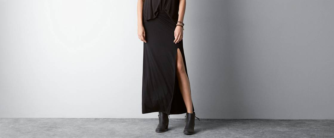 Black Side Slit Maxi Made In Italy By AEO